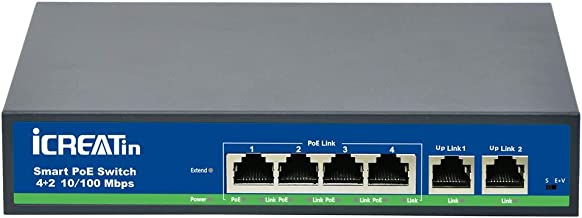 iCreatin 6 Ports Active Power over Ethernet POE Switch with 4 PoE Port, IEEE802.3af/at 78Watt, 10/100Mbps