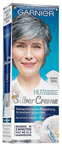Garnier Nutrisse Silber Creme Farbe: Silbergrau Inhalt: 80ml - Farbverschönernde Pflegetönung für strahlend-graues Haar. Tönung