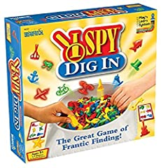 Are you ready to play? Then dive right in and dig away Race the clock, it's not so hard! Dig out 6 objects, place on your card When each player has gone ALL IN, match one more for the win! Based on the best-selling I SPY book series by Jean Manzollo ...