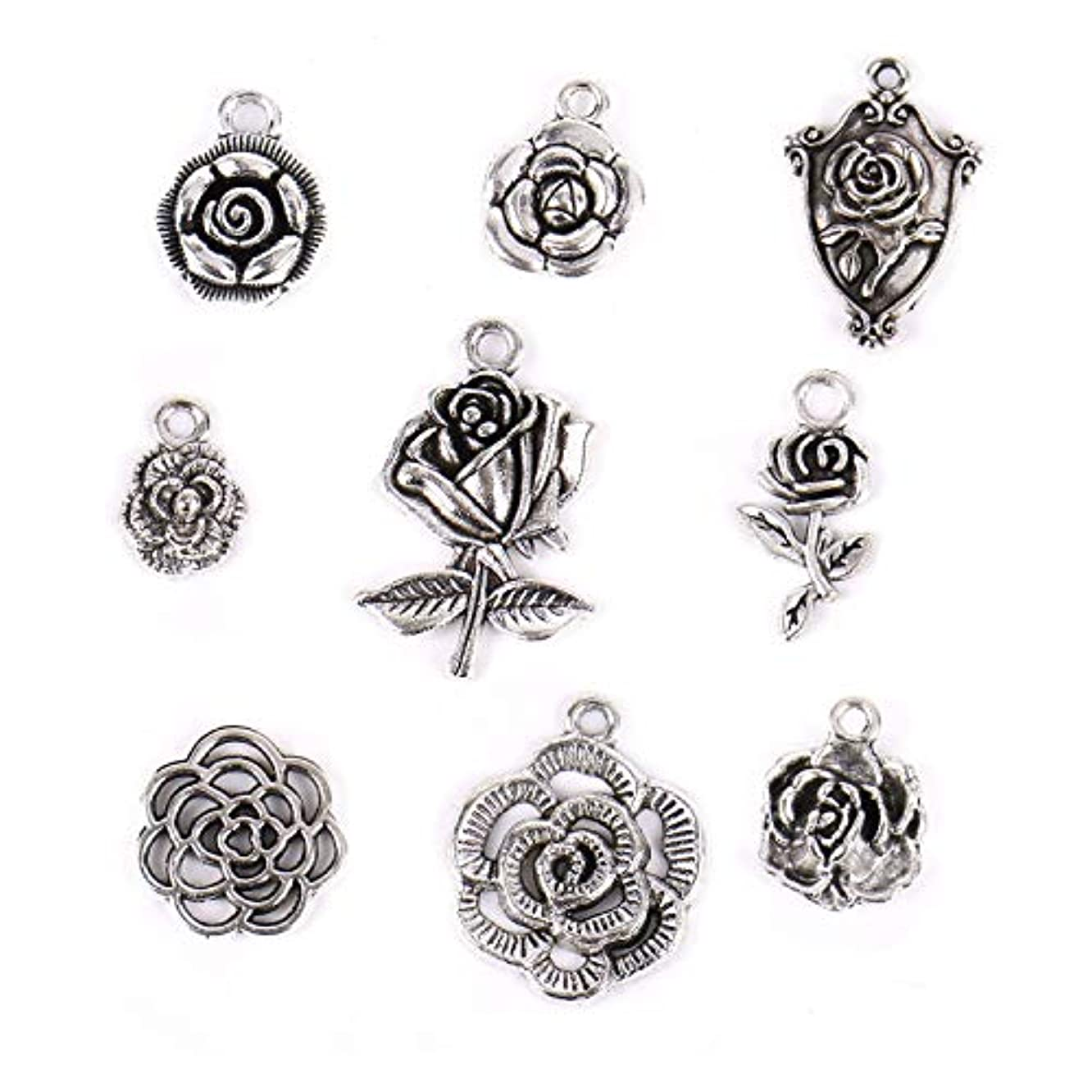 Monrocco 90 Pack 3D Flower Beads Charms Bulk Antique Silver Flower Charms Bracelet Necklace Jewelry Making