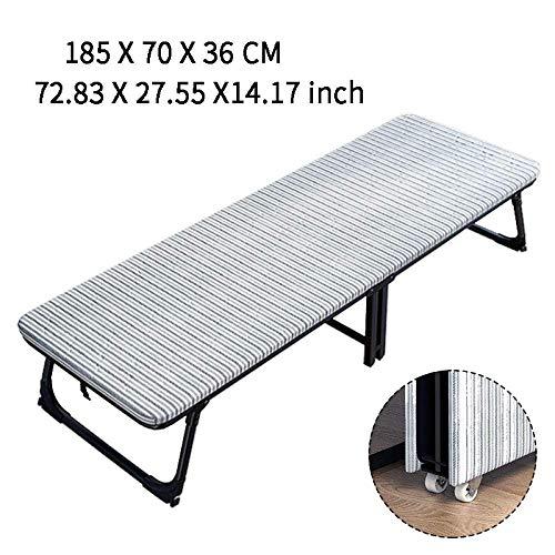 GWFVA Faltbarer Liegestuhl Solo, nur Büro, Mittagessen, Erholung zu Hause, Liegesessel für Erwachsene, Holzbett, einfache 70 cm, Blau mit Riemenscheibe 70cm Grey With Pulley