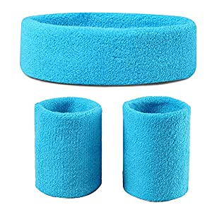 Sweatbands (Headband/Wristband Set) for Working Out,80's Costume Party Neon Blue