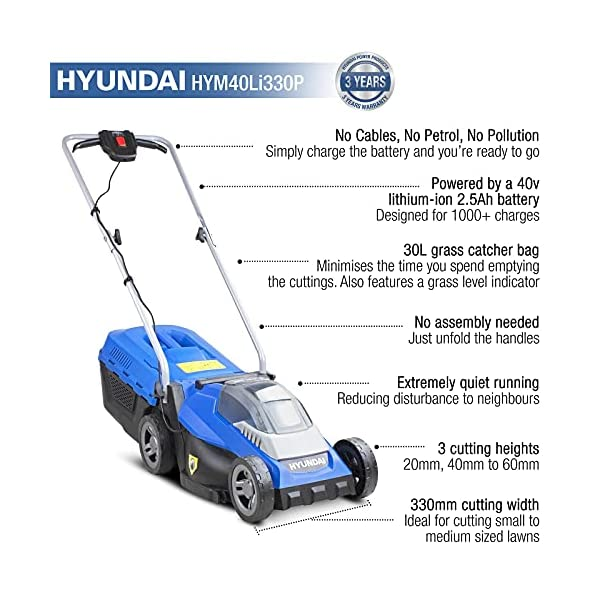 Hyundai HYM40LI330P Cordless Battery Mower