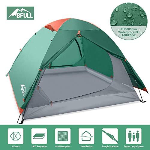 Bfull Campingzelt für Zwei Personen, 2 Personen Kuppelzelt Wurfzelt, Wasserdicht WS 2.000mm Outdoorer Zelt, 210X160X112cm