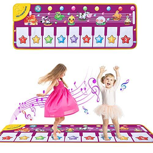 Comius Sharp Tappeto Musicale Bambini, Tappetino da Ballo per Pianoforte, Gioco Musicale per Tappeti Giocattoli BambinaTocca la Tastiera, Giochi Bambina 1 Anno - 8 Anni Regali Natale