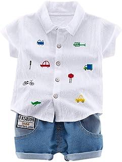 Hot!!Toddler Kids Boys Gentleman Cartoon Tops T-Shirt+Denim Shorts Outfits MS-SM Infant Baby Cute Fashion Button Short Sle...