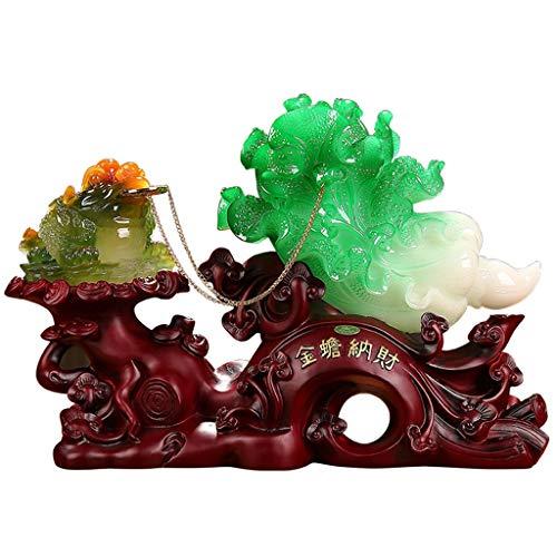 NYKK Estatuas de Feng Shui Tradiciones Estatuas Feng Shui Col Suerte Sapo Dorado Adornos Esculturas de colección Figura de Resina de atraer abundancia y Buena Suerte Estatua de Riqueza