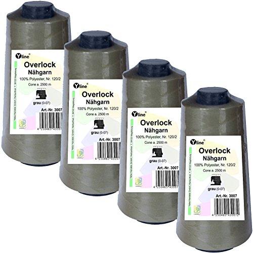4 bobinas para overlock, color gris, 2500 m, n.º 120/2, 100% poliéster, hilo para máquina de coser, 3007-4