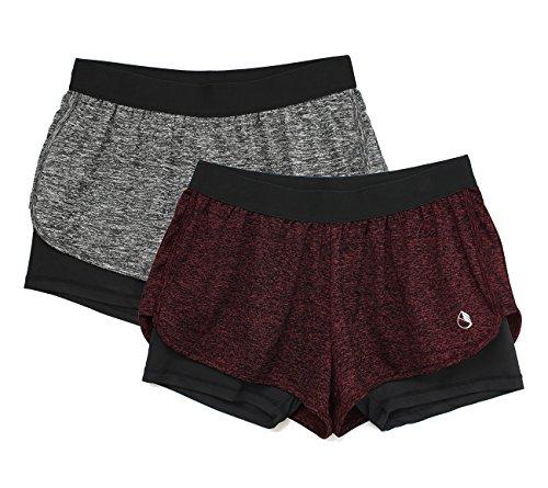 icyzone Damen 2 in 1 Sport Shorts Training Yoga Kurze Hose Laufshorts 2er Pack (Charcoal/Wine, M)
