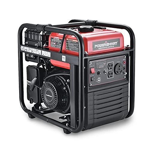 PowerSmart Generator, 4400W Open Frame Inverter Generator, 3500W Rated 224CC Gas Powered Generator, Quiet Technology, CARB Compliant, Red/Black, PS5040A