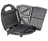 750W 3 in 1 Kitchen Sandwich Toaster Waffle Maker Toast Grill Panini Press by Janoon®