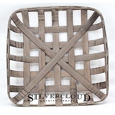 Silvercloud Trading Co. Tobacco Basket, Farmhouse Decor, Sml 17  Square