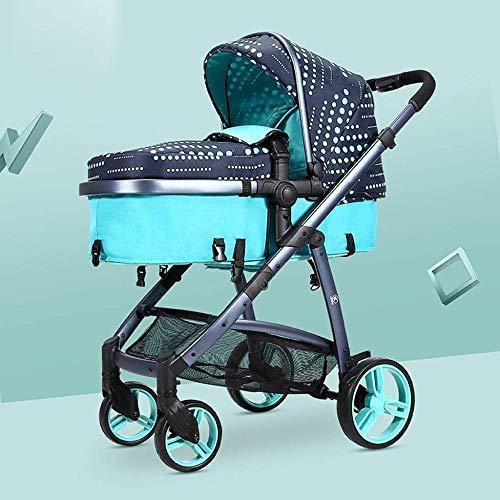 HZYD Poussette bébé, Poussette Convertible Reclining, Pliable et Portable Pram Transport Anti-Chocs en Aluminium avec Cadre Poussette, 5 Points Harnais et Haute capacité Panier (Couleur: Vert) Kyman,