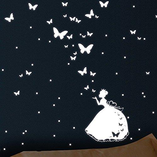 Wandtattoo-Loft Leuchtaufkleber Eine Prinzessin mit 30 verschiedenen Schmetterlingen und 60 Punkten Fluoreszierende Aufkleber - Leuchtende Sticker für das Kinderzimmer