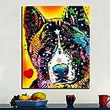 Pintura de gran tamaño sobre lienzo Perros Akita Graffiti Pop Art Cuadro decorativo de arte de pared para carteles e impresiones de la sala de estar 30x45cm Sin marco