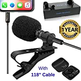 Lavalier Lapel iPhone Ipad Microphone - BluQbt Professional High Audio Quality Clip On asmr Microphone Lav Mic for YouTube Camera Vlogging 118' Cable and Nice Carry case, Compatible with Apple