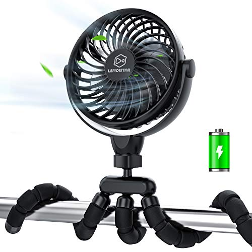 Stroller Fan,Portable Handheld Battery Powered(2600mAh) Clip on Fan with Flexible Tripod, 4 Speeds Ultra Quiet 360°Rotatable, Personal Mini USB Desk Fan for Stroller/Camping/Car Seat/Golf Cart