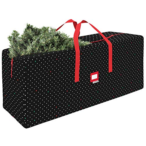 """CLOZZERS Christmas Tree Storage Bag - Measures 48 x 15 x 20"""" for Trees up to 7 Feet Tall, Heavy Duty, Dust Protection and Water Resistant, Durable Zipper Closure and Sturdy Handles, Red Stars Print"""