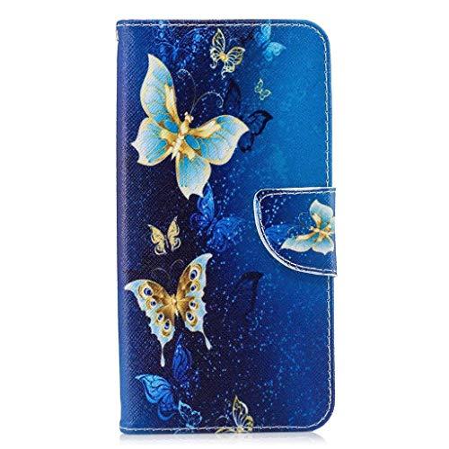 Veapero Kompatibel für Hülle Sony Xperia L4 Handyhülle Hülle Hülle Wallet Tasche Soft TPU Innere Schutzhülle Schale Ständer Kartenfach Magnetverschluss Brieftasche,Blauer Schmetterling