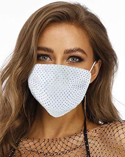 Yean Máscara de cara brillante transpirable para la boca, máscaras blancas con diamantes de imitación para Halloween, fiestas de discoteca, accesorios de disfraz para mujeres, hombres y adultos