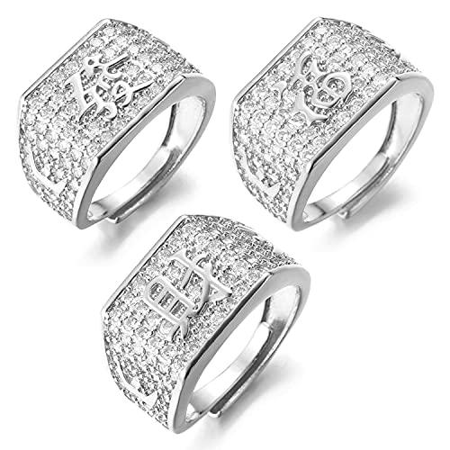 Halukakah ● Oro Bendiga Todo ● Hombres Anillo Chapado en Oro Blanco Platino con Diamantes Kanji Rico + Suerte + Riqueza Tamaño Ajustable con Caja