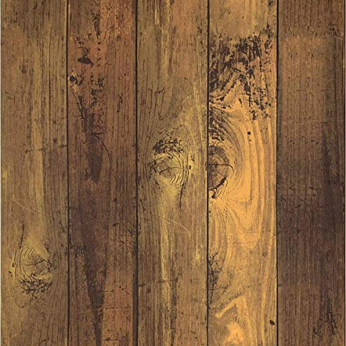 Isdy Wallpaper Stickers Removable Wallpaper Remake Sheet Remodeling Wall Sticker Cutting (Dark Brown Wood Grain)