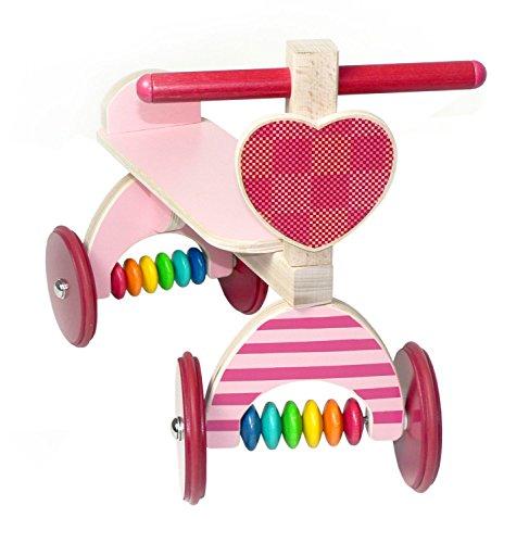 Hess Holzspielzeug 31175 - Toboggan en bois, motif cœur, avec pneus en caoutchouc, fabriqué à la main, à partir de 12 mois, comme trotteur pour bébé et pour s'amuser en toute insouciance
