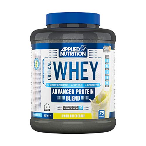 Applied Nutrition Critical Whey Protein Powder Shake, Gold Muscle Building Supplement with Glutamine & High Standard Amino Acids, BCAA 2.27kg - 75 Servings (Lemon Cheesecake)