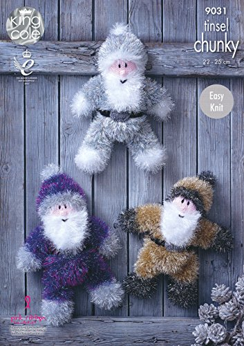 King Cole Tinsel Chunky Easy Knit Knitting Pattern for Santa Claus Christmas Toys 3 Sizes (9031)