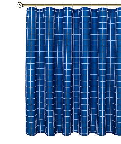 Biscaynebay Duschvorhang, extra lang, strukturierter Stoff, kariert, bedruckt, für Badezimmer, Indigo 183 x 213 cm