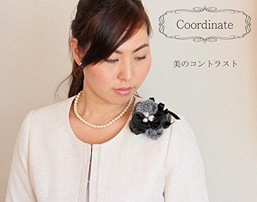 鎌倉工芸『レースダブルソーイングフラワーコサージュパール&ビジュー入り』