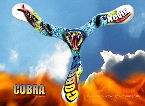 Bumerang/Boomerang mit Deinem Namen. Die Cobra. Cooler Allround Bumerang für Anfänger und Kinder ab 8 Jahren. Leicht zu werfen und zu fangen. Für Rechtshänder.