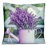 Kissenhüllen Kissenbezug Hülle Kissen Bezug Hüllen 40x40 Lavendel Kanne Provence Mediterran
