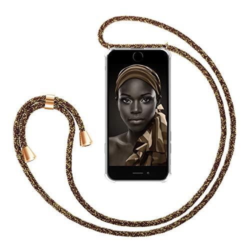 ZhinkArts Handykette kompatibel mit Apple iPhone 6 / 6S - Smartphone Necklace Hülle mit Band - Handyhülle Case mit Kette zum umhängen in Gold - Braun