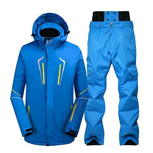 KUNHAN skikleding voor heren Plus size jas en broek heren sneeuwpak outdoor sport speciaal snowboardkleding winddicht waterdicht skipak sets blauw