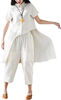 CuteRose Women Pockets Skinny Pure Color Linen Chinese Style Wide Leg Pants