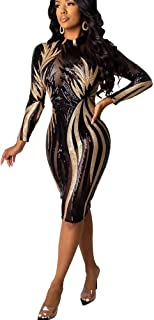 MorwenVeo Women Sparkly Sequin Sheer Mesh See Through Rhinestone Long Sleeve Bodycon Midi Dress