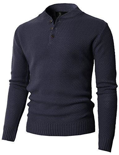 H2H Mens Slim Fit Cable Knit Long Sleeve Henley-Neck Pullover Sweater Navy US L/Asia XL (KMOSWL0202)