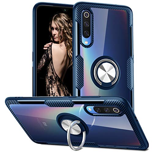 QSEEL for Xiaomi Mi 9E Clear Ring Armor Case, Hard Clear Back Cover + Soft TPU Frame + Built-in Ring Holder Tough Case for Xiaomi 9E (Navy)