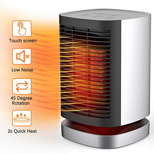AILUKI Portable Space Heater 950W with Oscillating Function,Indoor Desk Personal Heater with Tip-Over and Overheating Protection,PTC Electric 2s Heat-up Heater Perfect for Home and Office(UL Listed) Electric heaters Space