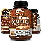 NutriFlair Mushroom Supplement 2600mg - 90 Capsules - 10 Mushrooms - Reishi, Lions Mane, Cordyceps, Chaga, Turkey Tail, Maitake, Shiitake Nootropic Complex - Brain, Immune System, Energy, Focus