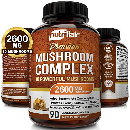 NutriFlair Mushroom Supplement 2600mg - 90 Capsules - 10 Mushrooms - Reishi, Lions Mane, Cordyceps, Chaga, Turkey Tail, Maitake, Shiitake Nootropic Complex - Brain, Immune System, Energy, Focus