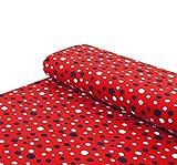 Nadeltraum Baumwoll - Jersey Stoff Bunte Punkte rot -