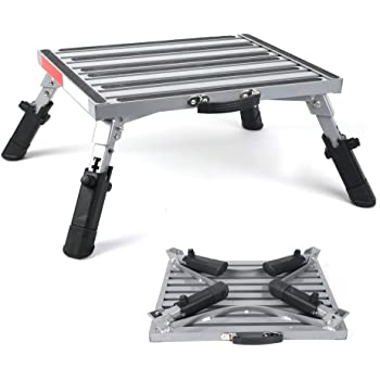 "Safety RV Steps Extra Large Platform 19"" x 14.5"" Extra Size RV Folding Step Stool and Ladder, 440lbs, Height Adjustable, Aluminium with Reflective Stripe, Anti-Slip Surface and Extra Grip"