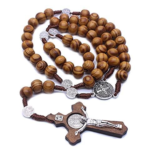 Moda hecha a mano redonda de cuentas católicas rosario cruz religiosa cuentas de madera hombres collar encanto regalo bebé nombre collar
