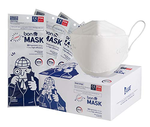 FFP2 Premium Filtermasken 3D KF94 mit CE zertifizeirt, Made in Korea, 50 Stück einzeln versiegelt und verpackt
