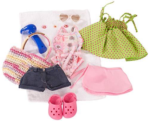 Götz 3401754 Kombination Sommerspaß - Puppenbekleidung Gr. XL - 10-teiliges Bekleidungs- und Zubehörset für Stehpuppen mit Einer Größe von 45 - 50 cm