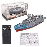 WGFGXQ Buques de Guerra de Control Remoto Acorazado de la Marina Portaaviones RC Barco Militar Modelo de Barco Lancha rápida Juguetes acuáticos Modelo Buque Naval Militar Portaaviones de Juguete