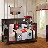 10 Piece Red Blue Grey Sports Baby Crib Bedding Set with Musical Crib Mobile Basketball Football Crib Bedding for Boys Girls Newborn Nursery Bed Set Infant Child Bold Borders, Cozy Super Soft Cotton