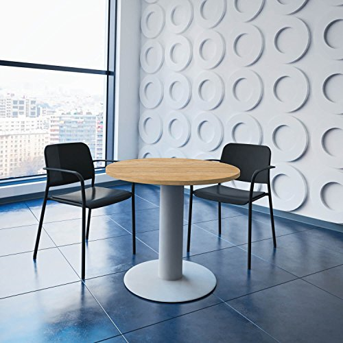 Optima runder Besprechungstisch Ø 80 cm Bernstein-Eiche Silbernes Gestell Tisch Esstisch
